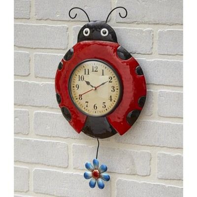 Lakeside Metal Ladybug Pendulum Wall Mounted Clock - Indoor Gardening Accent