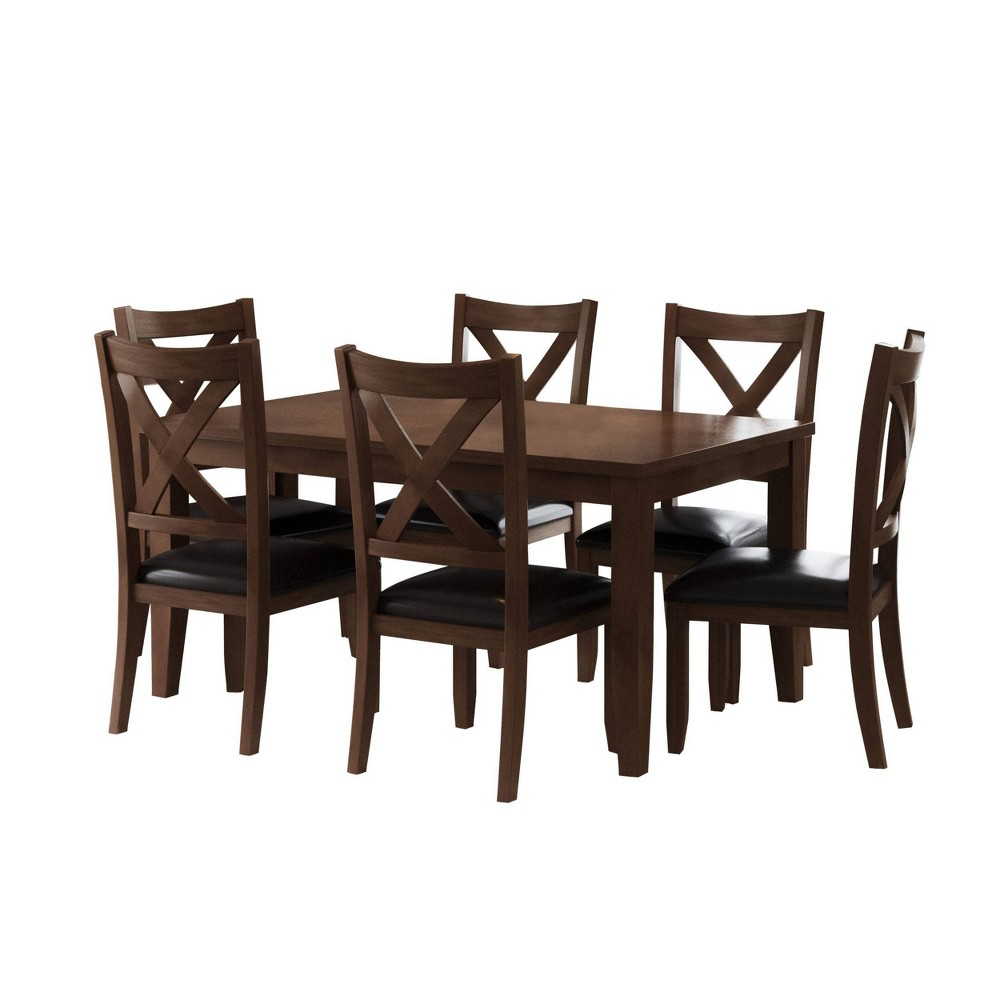 7pc Rafi Dining Set Brown - Abbyson Living