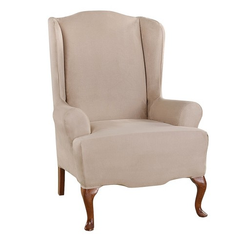 Ultimate Stretch Suede Wing Chair Slipcover - Sure Fit - image 1 of 2
