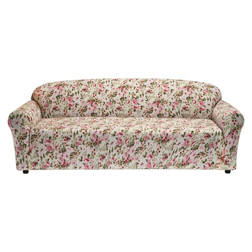 Floral Pink Jersey Sofa Slipcover