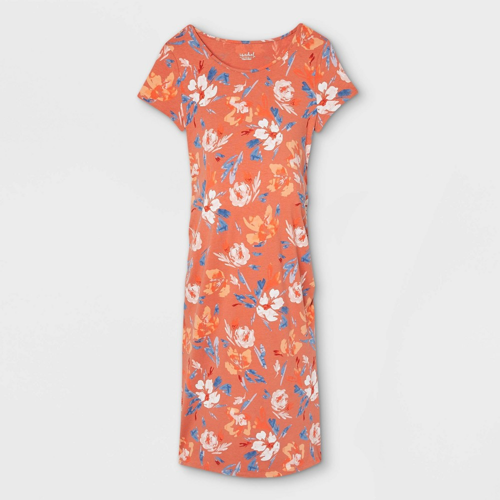 Floral Print Short Sleeve T Shirt Maternity Dress Isabel Maternity By Ingrid 38 Isabel 8482 Wave Red L