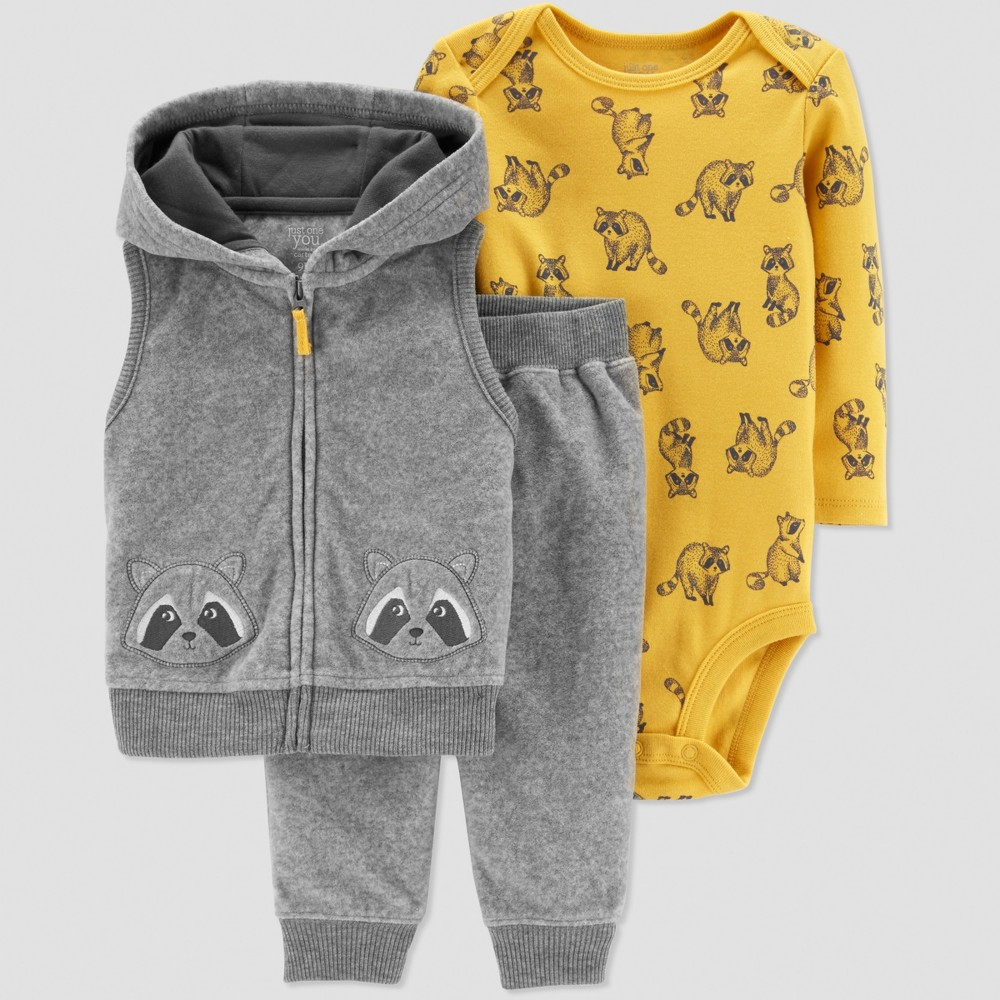 Baby Boys' Racoon 3pc Set - Just One You made by carter's Gray 6M