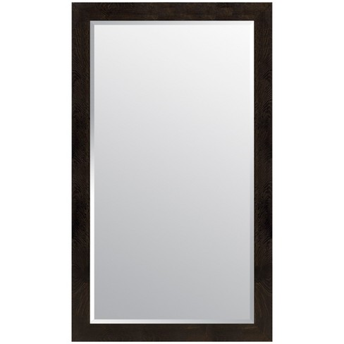 "36""x66"" Woodgrain Framed Beveled Wall or Leaner Mirror Black - Gallery Solutions - image 1 of 6"