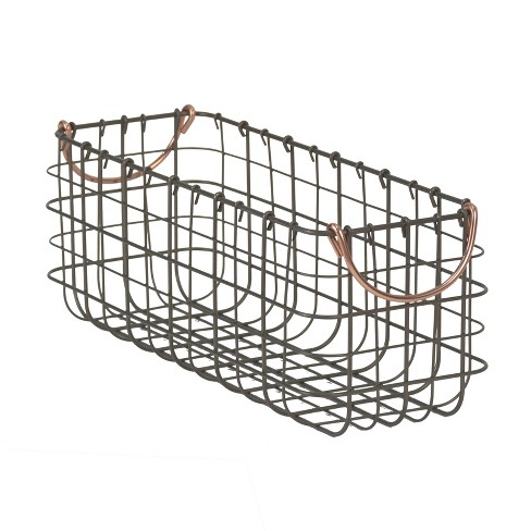 "Wire Tank Top Basket With Pewter Finish And Copper Handle 16""X6""X6"" - Threshold™ - image 1 of 1"