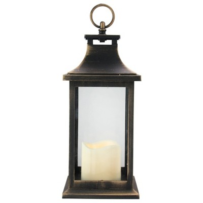"Northlight 12.5"" Black with Gold Brushing Candle Lantern with Flameless LED Candle"