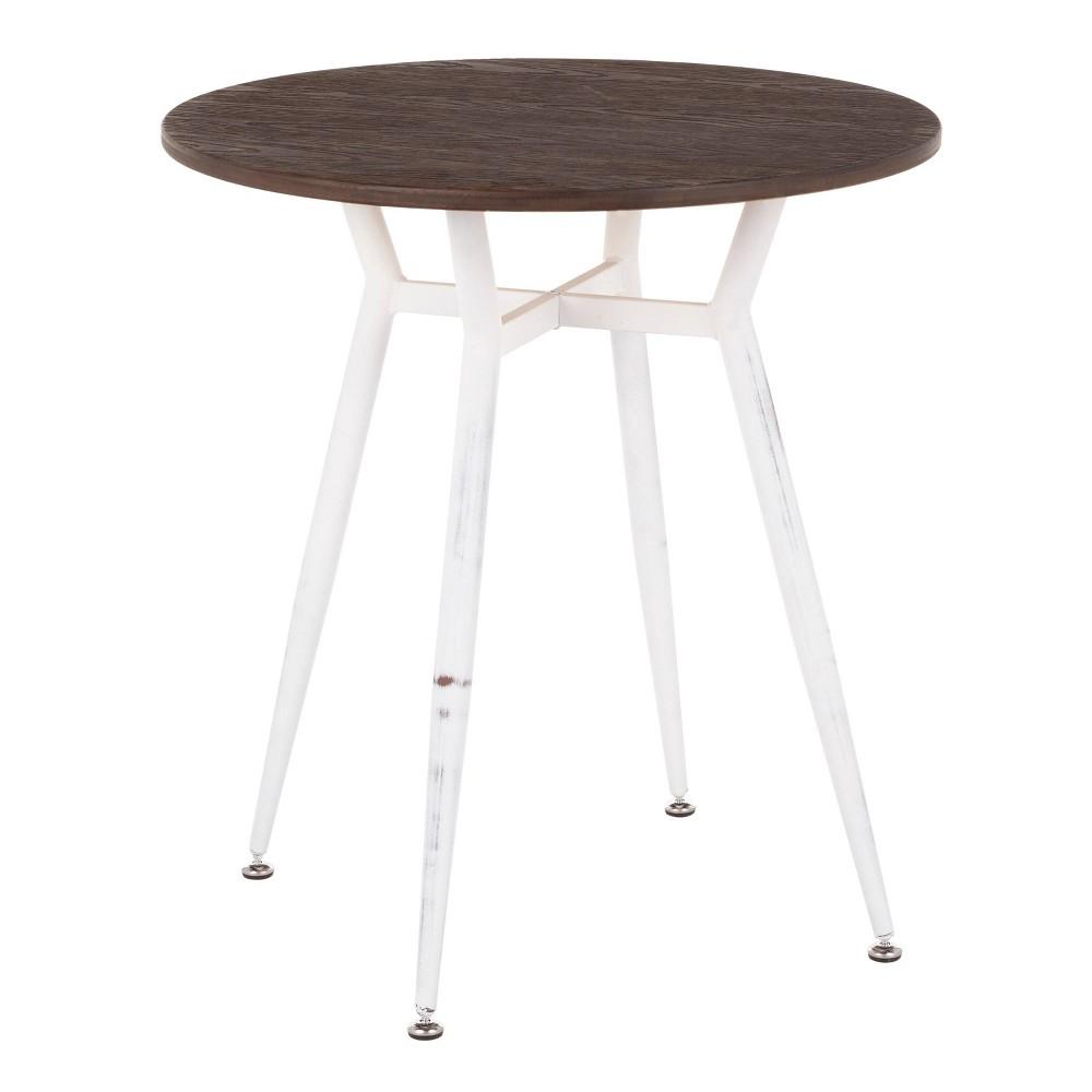 Clara Industrial Round Dinette Table Vintage White/Espresso - LumiSource