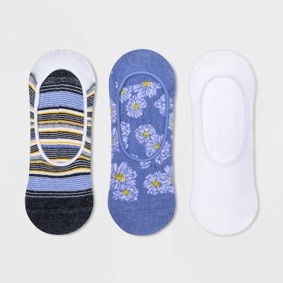 Women's Floral 3pk Liner Socks - A New Day™ Blue/White 4-10