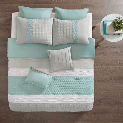 8pc Arlie Comforter Set Seafoam/Gray