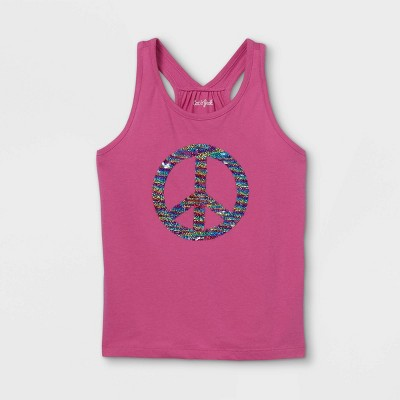 Girls' Peace Flip Sequin Tank Top - Cat & Jack™ Pink