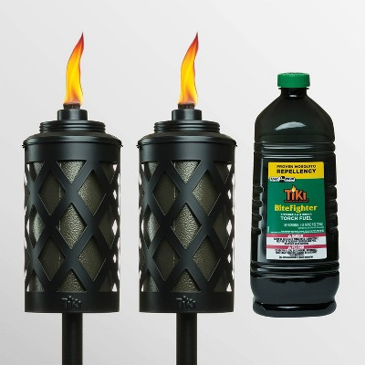 Tiki Brand 2 Urban Metal Torches with 100oz BiteFighter