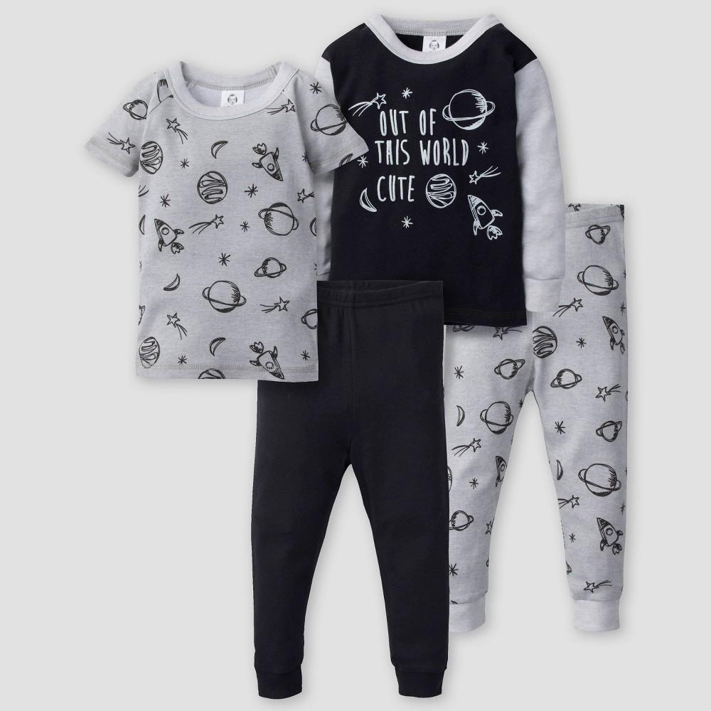 Image of Gerber Baby Boys' 4pc Space Long Sleeve 100% Cotton Pajama Set - Gray/Black 12M, Boy's, Black/Gray