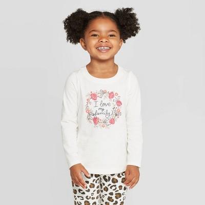 Toddler Girls' Long Sleeve 'I Love My Family' T-Shirt - Cat & Jack™ Cream 5T