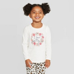 Toddler Girls' Long Sleeve 'I Love My Family' T-Shirt - Cat & Jack™ Cream