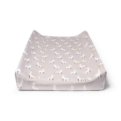 Plush Changing Pad Cover Llamas - Cloud Island™ Gray