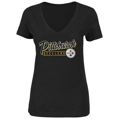 NFL Pittsburgh Steelers Women's Plus Size Short Sleeve V-Neck Must Win T-Shirt - 2X