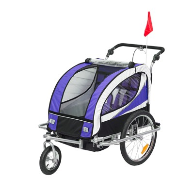 Aosom 2-in-1 Folding Child Bike Trailer & Baby Stroller with Safety Flag, Light Reflectors, & 5 Point Harness