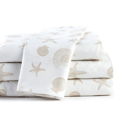 Lakeside Coastal Accents Bedding Sheet Set with Pillow Cases - 4 Pieces