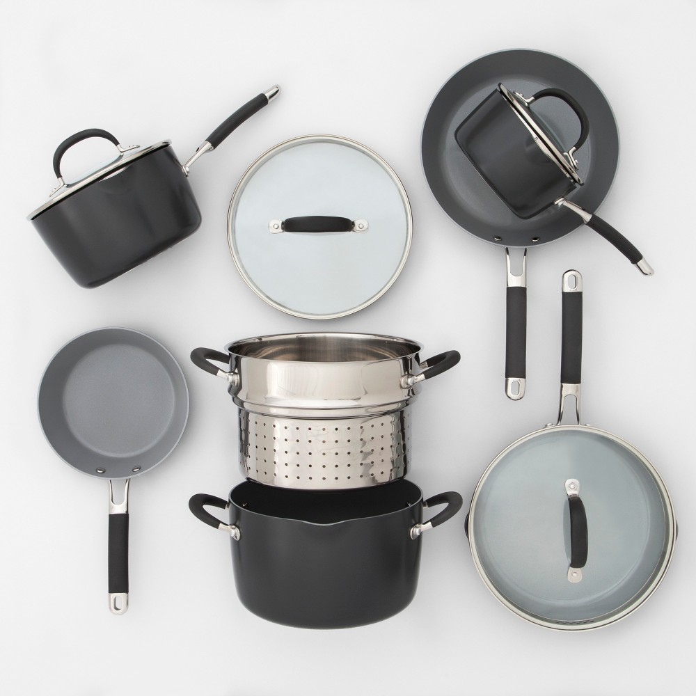 Image of Ceramic Coated Aluminum Cookware Set 11pc - Made By Design , Gray