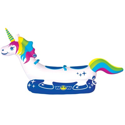 Wow Watersports Giant Rainbow Unicorn 2 Person Rider PVC Inflatable Pontoon Boating Ride On Lake Boat Towable Tube