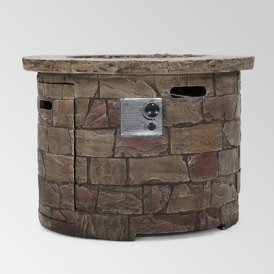 Stillwater Outdoor Circular Fire Table Natural Stone - Christopher Knight Home