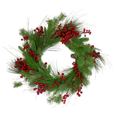 Northlight 24-Inch Mixed Pine and Red Berry Artificial Christmas Wreath - Unlit