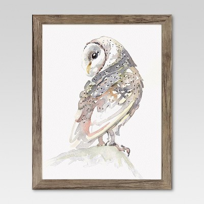 Framed Watercolor Owl 11 x14  - Threshold™