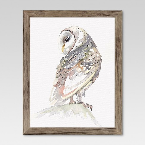"""Framed Watercolor Owl 11""""x14"""" - Threshold™ - image 1 of 4"""
