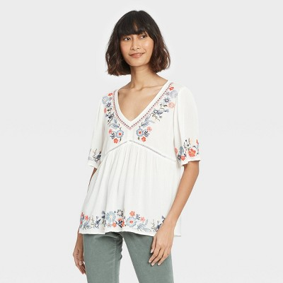 Women's Short Sleeve Embroidered Top - Knox Rose™ White