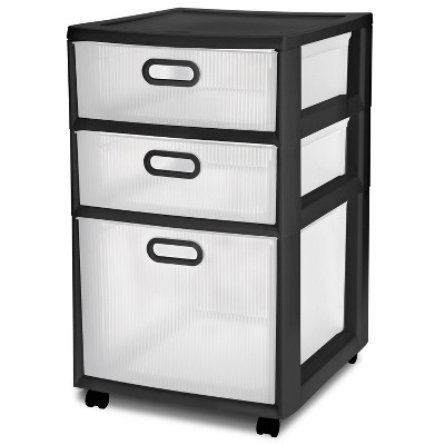 Sterilite Ultra 3 Drawer Storage Cart Black