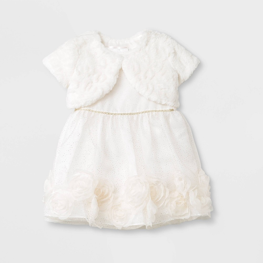 Image of Mia & Mimi Baby Girls' Soutache Border Rosette Cardigan Dress Set 0-3M, Girl's, Gold/Beige/White