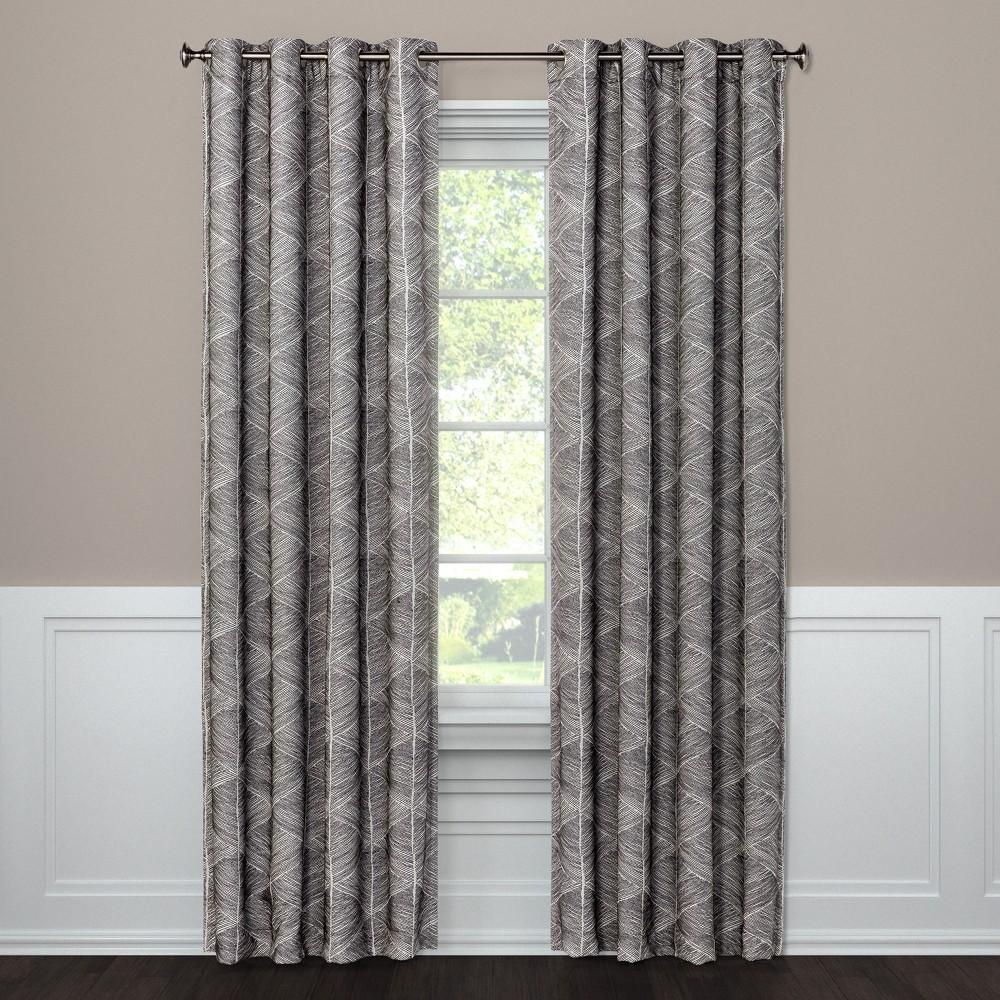 "Image of ""108""""x50"""" Modern Stroke Grommet Top Blackout Window Curtain Panel Gray - Project 62"""