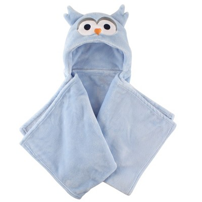 Hudson Baby Infant Boy Hooded Animal Face Plush Blanket, Blue Owl, One Size