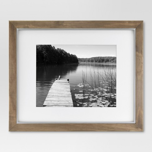 "16 x 20"" Matted to 11"" x 14"" Wood and Metal Edge Frame Brown - Threshold™ - image 1 of 4"