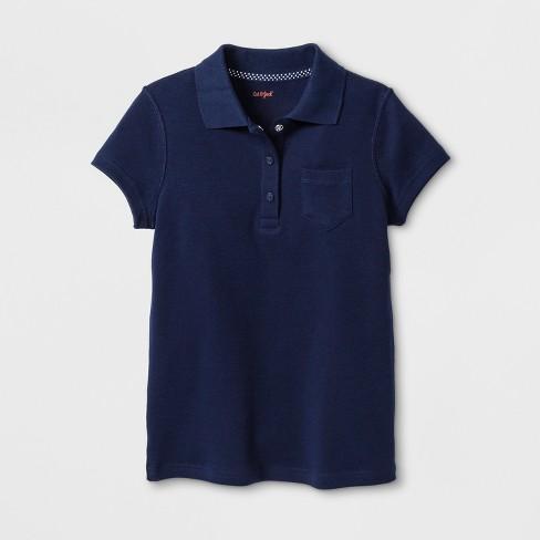 Girls' Adaptive Short Sleeve Uniform Polo Shirt - Cat & Jack™ Navy - image 1 of 1