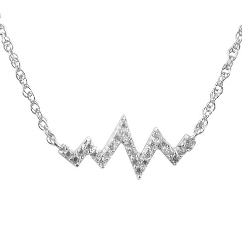 "1/5 CT. T.W. Round-cut CZ Pave Set Heart Beat Pendant Necklace in Sterling Silver - Silver (18"") - image 1 of 2"
