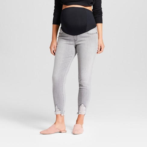Maternity Crossover Panel Skinny Crop Jeans - Isabel Maternity by Ingrid & Isabel™ Gray Wash - image 1 of 5