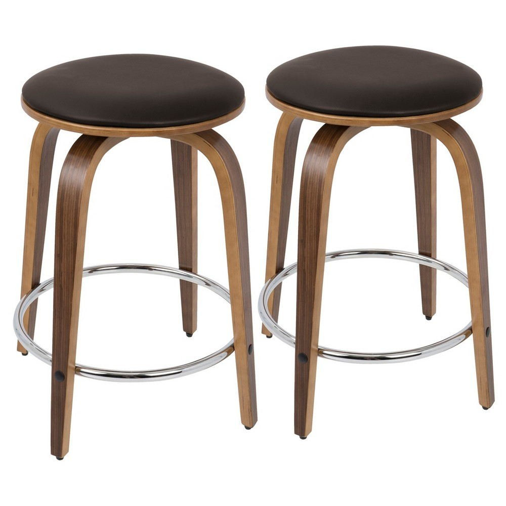 "Image of ""24"""" Porto Counter Stools With Swivel - Walnut + Brown With Chrome Footrest - Lumisource"""