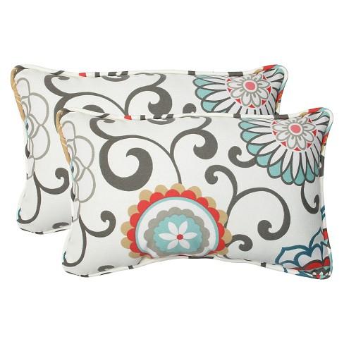 2pk Outdoor Rectangle Throw Pillow - Camel/Aqua/Brown/Botanical - Pillow Perfect - image 1 of 1