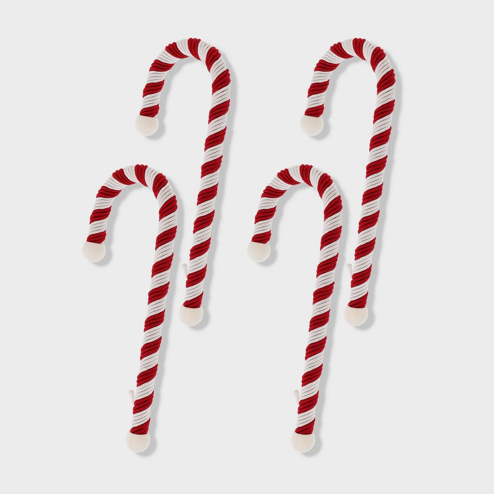 Image of 4ct Candy Cane Stocking Holders Haute Decor, White Red
