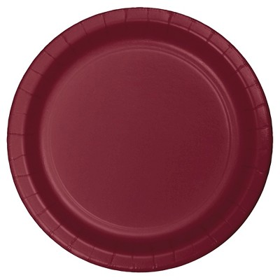 """Burgundy Red 9"""" Paper Plates - 24ct"""