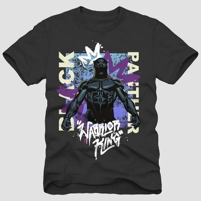 Men's Disney Black Panther 'Warrior King' Short Sleeve Crewneck T-Shirt - Black
