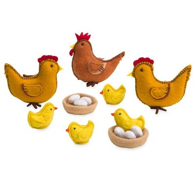 Magic Cabin - Felt Chickens Play Set for Kids Imaginative Play