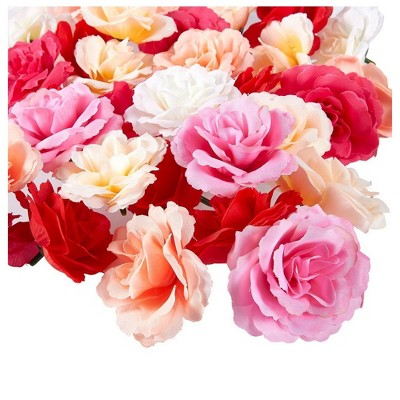 Juvale Artificial Flower Heads - 60-Pack Fake Fabric Flowers for Wedding Decorations, Baby Showers, DIY Crafts, Mixed Colors, 2.7 x 2.7 x 1.6 Inches