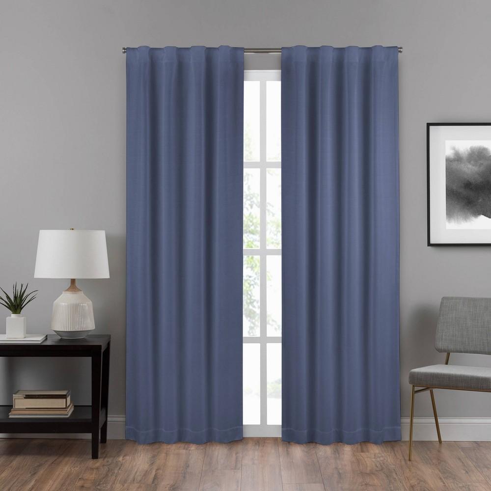 "Image of ""108""""x40"""" Summit Solid Draft Stopper Room Darkening Window Curtain Panel Blue - Eclipse"""