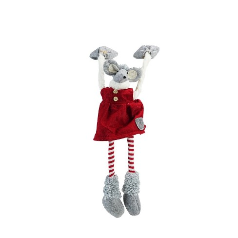 "Northlight 20"" Red and Gray Merry Mouse Hanging Mantle Christmas Decor - image 1 of 3"