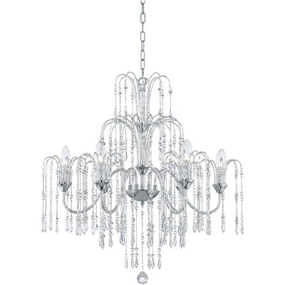 "Vienna Full Spectrum Chrome Chandelier 29"" Wide Crystal Rain Curved Arm Halogen 6-Light Fixture Dining Room Foyer Kitchen Entryway"