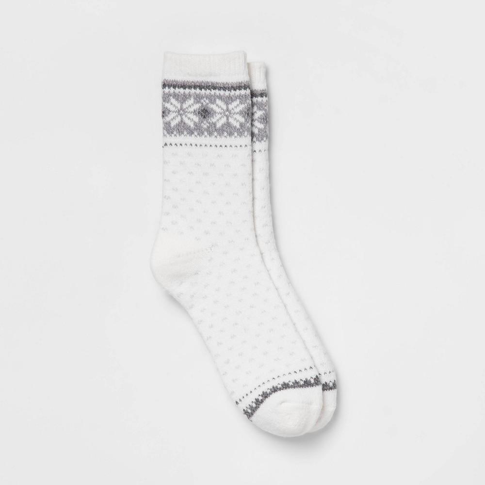 Warm Essentials By Cuddl Duds Women 39 S Snowflake Block Crew Socks Ivory 4 10