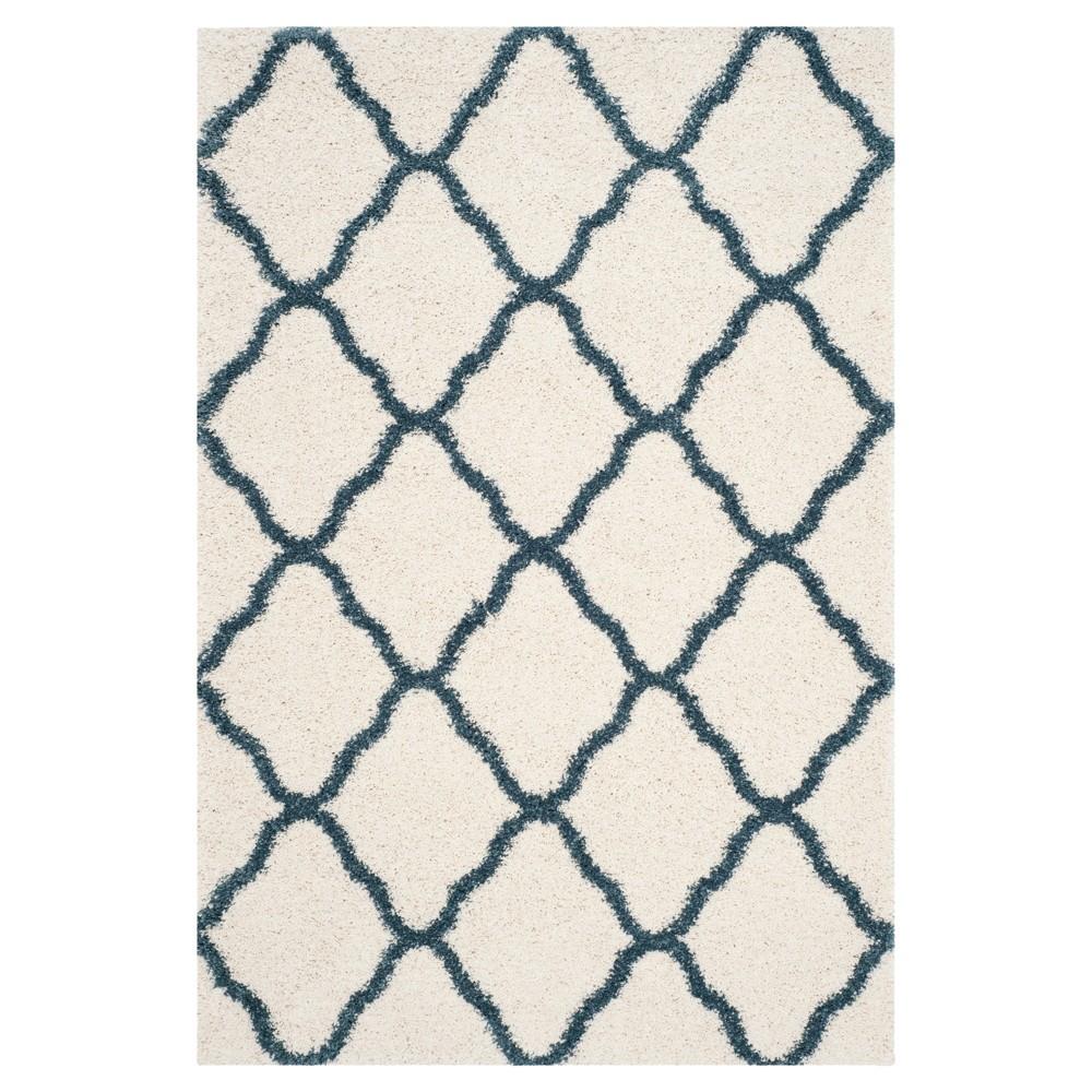 Ivory/Slate Blue Geometric Shag/Flokati Loomed Area Rug - (5'X8') - Safavieh