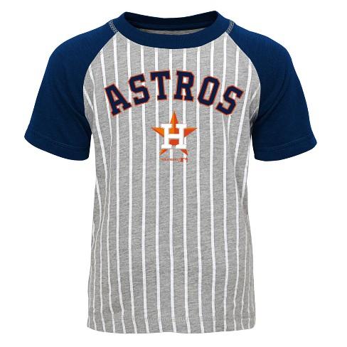 promo code 9cb2a d6030 Houston Astros Boys' Short Sleeve Raglan Pinstriped Crew Neck T-Shirt -  Gray XS