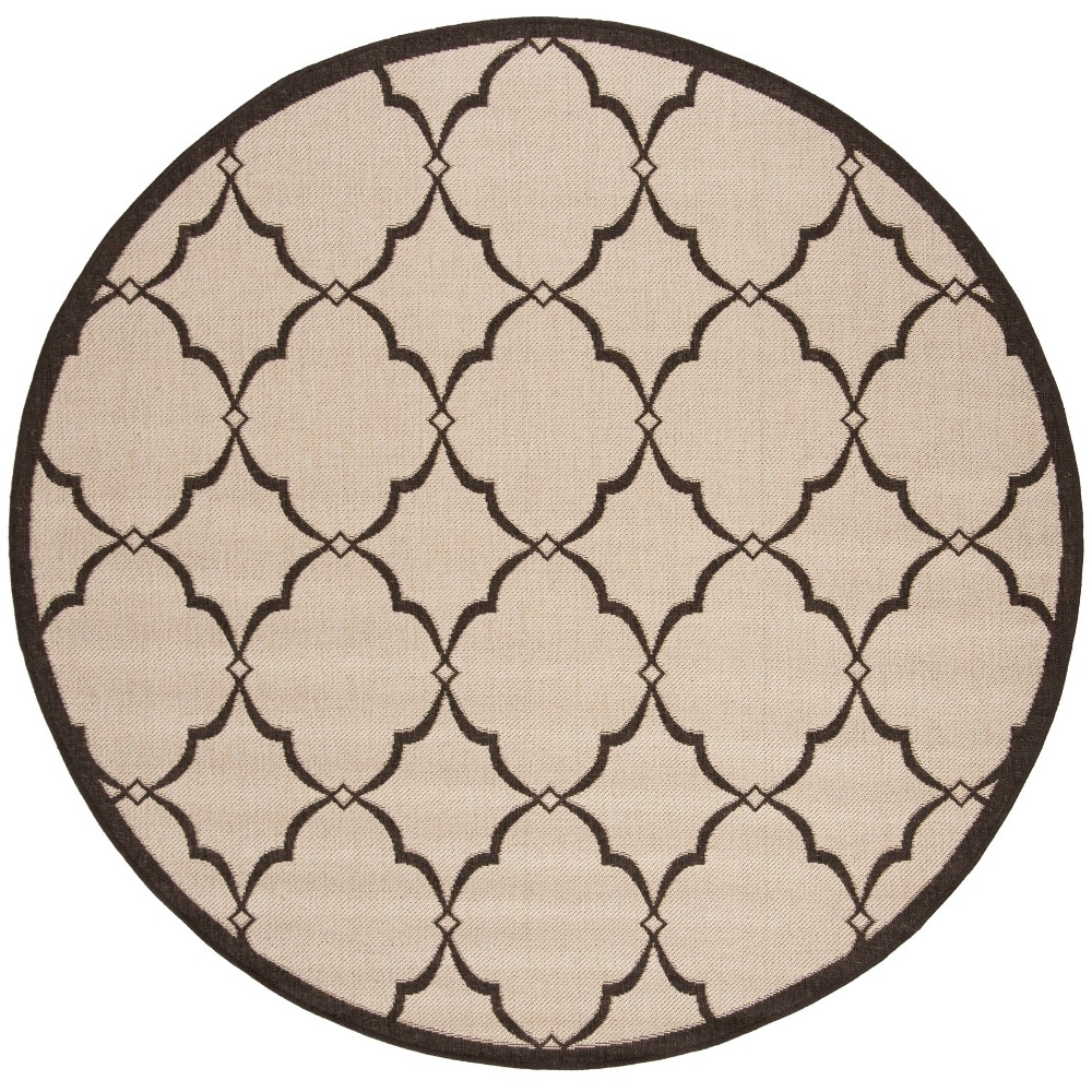 67 Round Geometric Loomed Area Rug Natural/Brown - Safavieh Buy